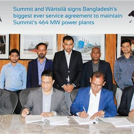 Wartsila and Summit sign Bangladesh's Biggest Ever Service Agreement to Maintain Summit's 464 MW Power Plants
